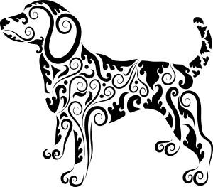 Dog decorative ornament vector