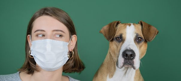 Woman wearing respiratory mask while looking at her dog